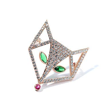 Žene Kubični Zirconia Broševi Lisica dame Stilski Luksuz Glina Pozlaćeni Austrijski kristal Broš Jewelry Zlato Pink Za Dnevno