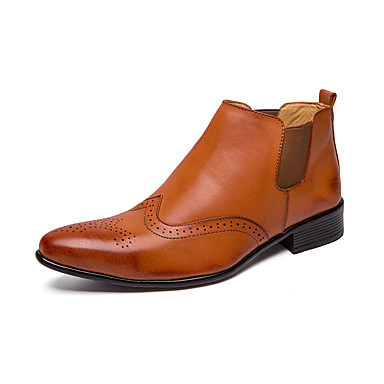 男性用 Fashion Boots 合皮 秋冬 カジュアル ブーツ 高さの増加 ブーティー/アンクルブーツ カラーブロック ブラック / Brown
