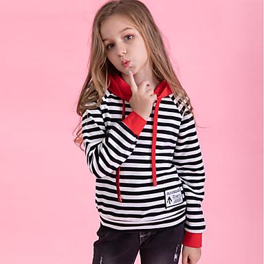 baratos Moletons Para Meninas-Infantil Para Meninas Activo Básico Diário Esportes Quadriculada Manga Longa Algodão Moleton & Blusa de Frio Preto