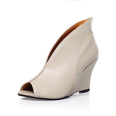 สำหรับผู้หญิง PU ฤดูร้อนฤดูใบไม้ผลิ รองเท้าส้นสูง รองเท้าส้นตึก ที่สวมนิ้วเท้า สีดำ / ผ้าขนสัตว์สีธรรมชาติ / ฟ้า