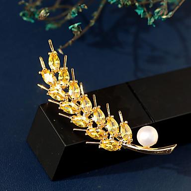 hesapli Moda Broşlar-Kadın's Tatlı su incisi Broşlar Klasik başak Bayan Lüks Koreli Altın Kaplama Avusturya Kristali Broş Mücevher Beyaz Uyumluluk Cadde