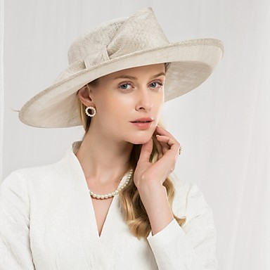 fbe576a9eebbd 100% Linen Kentucky Derby Hat   Hats with Bowknot 1pc Special Occasion    Party   Evening Headpiece