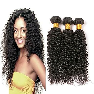 baratos Extensões de Cabelo Natural-3 pacotes Kinky Curly 8A Cabelo Humano Não processado Cabelo Natural Peça para Cabeça Cabelo Humano Ondulado Cuidados com Cabelo 8-28 polegada Côr Natural Tramas de cabelo humano novo Venda