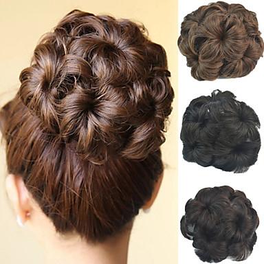 voordelige Korting Pruiken & Hair Extensions-bruids opsteekkapsel chignon broodje bloem clip synthetisch culry hair extensions meerdere kleuren