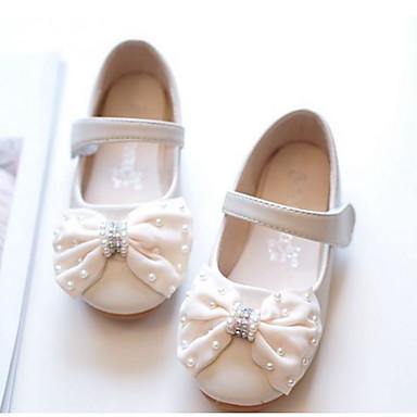 voordelige Babyschoenentjes-Meisjes Lichtzolen Schapenleer Platte schoenen Peuter (9m-4ys) / Little Kids (4-7ys) Strik Beige / Roze Lente zomer