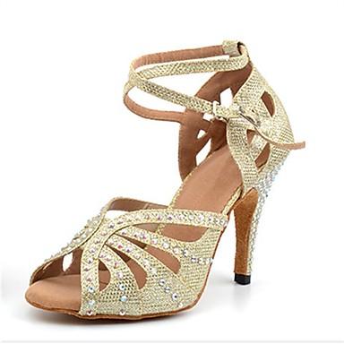 baratos Sapatos de Salsa-Mulheres Sapatos de Dança Sintéticos Sapatos de Dança Latina Pedrarias / Presilha Sandália / Salto Salto Alto Magro Personalizável Dourado / Espetáculo