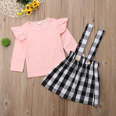 f0b86cdd3fd Baby Girls  Active   Street chic Daily   Holiday Solid Colored   Floral  Lace up Long Sleeve Regular Regular Cotton   Spandex Clothing Set Pink    Toddler