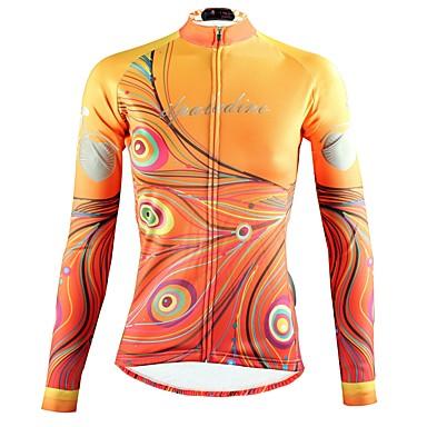 ILPALADINO בגדי ריקוד נשים שרוול ארוך חולצת ג'רסי לרכיבה - צהוב פרחוני  בוטני אופנייים צמרות עמיד אולטרה סגול ספורט חורף אלסטיין רכיבת הרים רכיבת כביש ביגוד