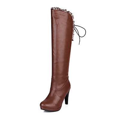 povoljno Ženske čizme-Žene PU Zima Čizme Stiletto potpetica Okrugli Toe Čizme do koljena Obala / Crn / Svjetlosmeđ / Zabava i večer