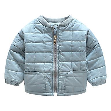 baratos Camisas para Meninos-Bébé Para Meninos Básico Diário Sólido Manga Longa Algodão Capa & Casaco Duvet Azul Marinha