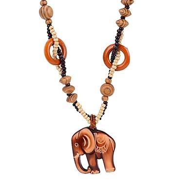 Žene Ogrlice s privjeskom 3D Slon dame Jednostavan drven Drvo Braon 64 cm Ogrlice Jewelry 1pc Za Dnevno