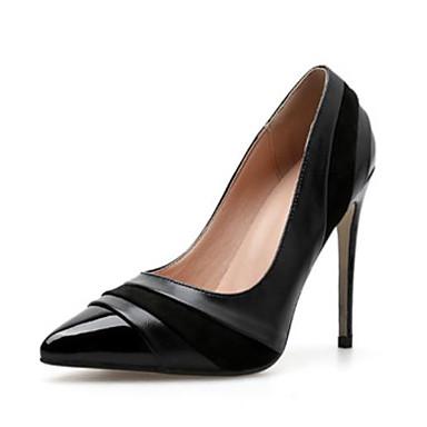สำหรับผู้หญิง PU ฤดูใบไม้ผลิ & ฤดูใบไม้ร่วง minimalism รองเท้าส้นสูง ส้น Stiletto Pointed Toe สีดำ / Almond / ทุกวัน