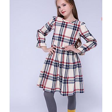 Χαμηλού Κόστους Φορέματα για κορίτσια-Παιδιά Κοριτσίστικα Βασικό Καθημερινά Καρό Μακρυμάνικο Φόρεμα Λευκό