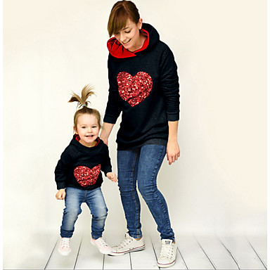 a85ab50f Mommy and Me Active Daily Geometric Long Sleeve Polyester Hoodie &  Sweatshirt White