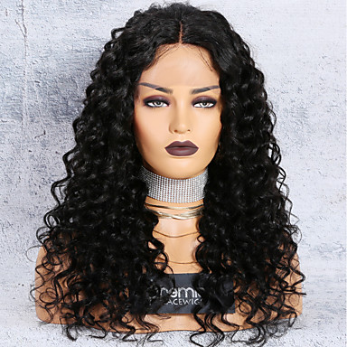 Remy Human Hair Lace Front Wig Middle Part Brazilian Hair Loose Curl