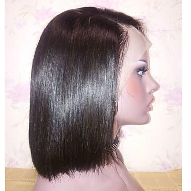 Virgin kosa Remy kosa Lace Front Perika Stepenasta frizura Kratak Bob stil Brazilska kosa Prirodno ravno Natural Perika 130% Gustoća kose Nježno Prirodno Prirodna linija za kosu Afro-američka perika