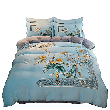 Duvet Cover Sets Chinese Style Polyster Printed 4 Piecebedding 4pcs 1 Flat Sheet 2 Shams