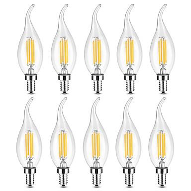 ราคาถูก บ้านและสวน-YWXLIGHT® 10pcs 4 W แสงไฟเทียน LED หลอดไฟLED Filament 300-400 lm E14 C35 4 ลูกปัด LED COB หรี่แสงได้ ขาวนวล White 220-240 V