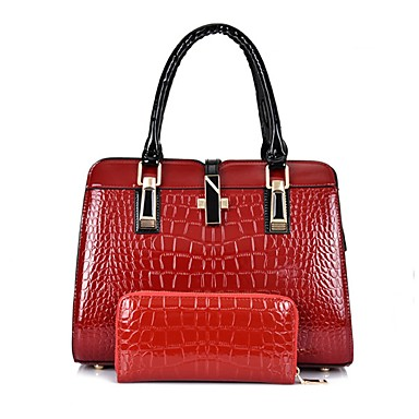 2dfd37596015 Women s Bags Patent Leather Bag Set 2 Pieces Purse Set Zipper Solid Color  White   Black   Red