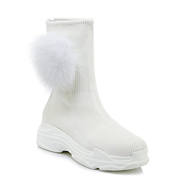 povoljno Ženske cipele-Žene Rabbit Fur / Pletivo Jesen zima Stil preppy / minimalizam Čizme Wedge Heel Okrugli Toe Čizme do pola lista Pom-pom Obala / Crn
