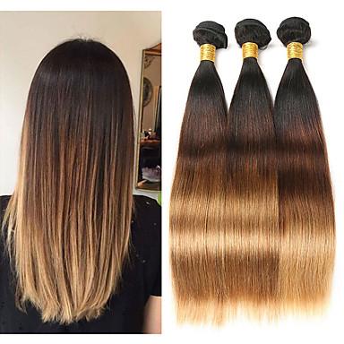 billige Fargede hairextensions-3 pakker Malaysisk hår Rett 10A Remy Menneskehår Hairextensions med menneskehår 8-26 tommers Hårvever med menneskehår Myk Beste kvalitet Ny ankomst Hairextensions med menneskehår Dame