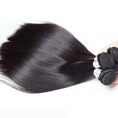 6 paketića Peruanska kosa Ravan kroj Ljudska kosa Netretirana  ljudske kose Headpiece Ljudske kose plete Styling kose 8-28 inch Prirodna boja Isprepliće ljudske kose Svilenkast Lijep Za crnkinje / 8A