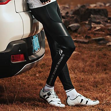 SANTIC Erkek Bisiklet Taytları Bisiklet Bisiklet Tayt Pantolonlar Alt Giyimler Rüzgar Geçirmez Nefes Alabilir 3D Pet Spor Dalları Elastane Siyah Dağ Bisikletçiliği Yol Bisikletçiliği Giyim Yarı Form