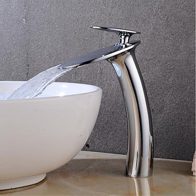 Kupaonica Sudoper pipa - Waterfall Chrome Središnje pozicionirane Jedan Ručka jedna rupaBath Taps