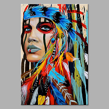 cheap Oversized Painting-Oil Painting Hand Painted - Abstract People Classic Modern Rolled Canvas