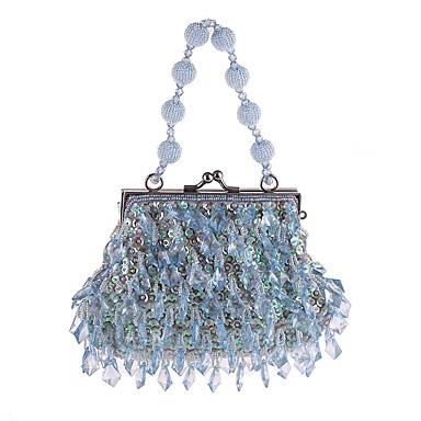 billige Vesker-Dame Paljett / Krystalldetaljer polyester Aftenveske Rhinestone Crystal Evening Bags Helfarge kaffe / Lys Lilla / Himmelblå / Høst vinter