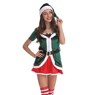 Santa Clothe Odrasli Žene Halloween Božić Božić Halloween Karneval Festival / Praznik Polyster Zelen Karneval kostime Jednobojni Božić