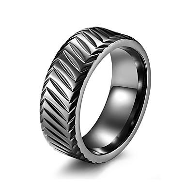 Muškarci Band Ring Prsten Prstenovi za utore 1pc Crn Srebro Rose Gold nehrđajući Stilski Osnovni pomodan Rođendan Voljeni Jewelry Klasičan Lijep