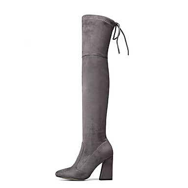 5c7cfed9a1c Women's Suede Winter Casual / Minimalism Boots Chunky Heel Round Toe ...