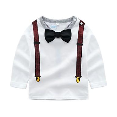 baratos Camisas para Meninos-Infantil Bébé Para Meninos Básico Estampado Manga Longa Algodão Camiseta Branco