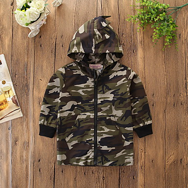 cheap Boys' Jackets & Coats-Kids / Toddler Boys' Active / Basic Daily / Sports Print Print Long Sleeve Long Cotton / Spandex Jacket & Coat Army Green