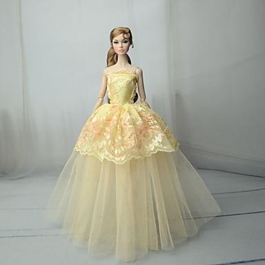 Haljina za lutke Haljine Za Barbie Čipka Svjetlo žuta Til Čipka Mješavina pamuka Haljina Za Djevojka je Doll igračkama