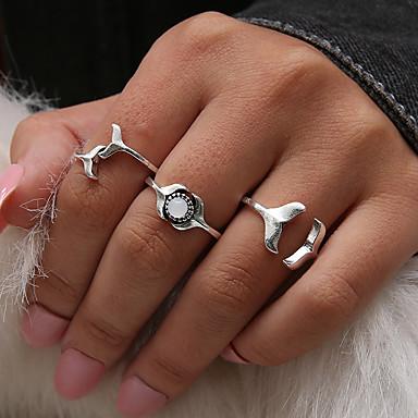 billige Motering-Dame Knokering / Ring Set / Midi Ring Syntetisk Opal 3pcs Sølv Harpiks / Legering damer / Personalisert / Unikt design Daglig / Kveld og spesielle anledninger / Gate Kostyme smykker