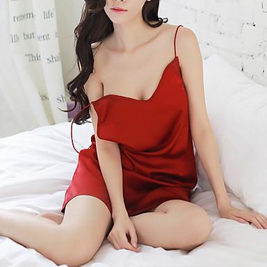 Žene Sexy Odijelo Noćno rublje - Otvorena leđa Jednobojni Obala Crn Red One-Size / S naramenicama