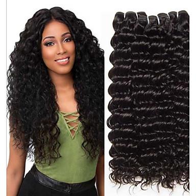 baratos Extensões de Cabelo Natural-3 pacotes Deep Curly Cabelo Humano Não processado Cabelo Natural Cabelo Humano Ondulado Extensor Cabelo Bundle 8-28 polegada Côr Natural Tramas de cabelo humano Sedoso Melhor qualidade 100% Virgem