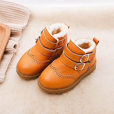 9a427d7578eb Boys' / Girls' Shoes Faux Leather Fall Snow Boots Boots Buckle for Kids / Toddler  Black / Brown / Burgundy / Booties / Ankle Boots