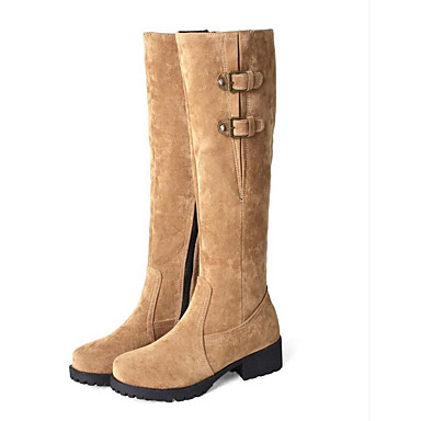 a4f37aede1ee Women s Suede Winter Boots Flat Heel Closed Toe Knee High Boots Black    Beige   Yellow 7023231 2019 –  34.99