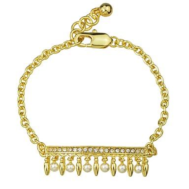 billige Motearmbånd-Dame Perle Kjeder & Lenkearmbånd Link / Kjede damer Grunnleggende Mote Perle Armbånd Smykker Gull Til Daglig Skole