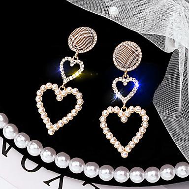 billige Moteøreringer-Dame Dråpeøreringer Link / Kjede damer Koreansk Perle Strass Sølvplett øredobber Smykker Gull Til Daglig 1 par