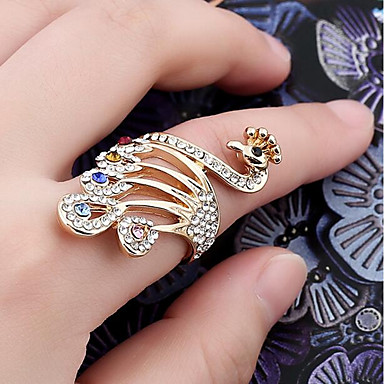 Žene Prsten 1pc Zlato Umjetno drago kamenje Legura dame Stilski Klasik Dnevno Jewelry Paun