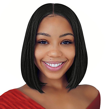 Synthetic Wig   Synthetic Lace Front Wig Women s Straight Black Middle Part Synthetic  Hair 14 inch 865ca147b5