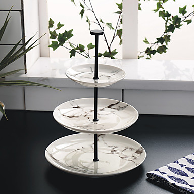 tri sloja okrugle mramorne stranke tijesto jelo voće zdjelice ploča teatime visoke čaj desert pladanj cp0030
