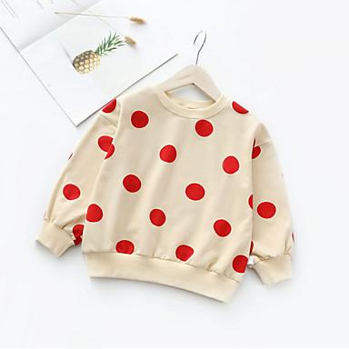 baratos Moletons Para Meninas-Infantil Bébé Para Meninas Básico Diário Sólido Manga Longa Algodão Moleton & Blusa de Frio Branco