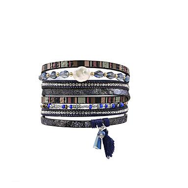 abordables Bracelet-Bracelets en cuir Bracelets de mémoire Femme Fantaisie Cuir Mode British Bracelet Bijoux Bleu pour Cadeau Quotidien