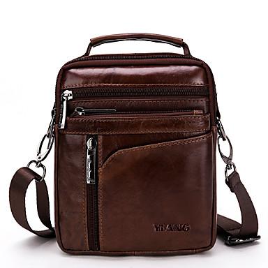 hesapli Çapraz Çantalar-Erkek Fermuar Omuz çantası Tek Renk Siyah / Koyu Kahverengi
