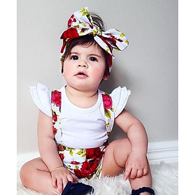 billige Babybukser-Baby Jente Grunnleggende Daglig Blomstret Trykt mønster Bomull Bukser Regnbue